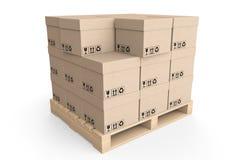 采购管理系统概念。 在木调色板的纸板箱 免版税库存照片
