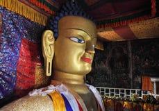 释迦牟尼雕象Shey修道院的在Leh,拉达克附近 免版税库存照片