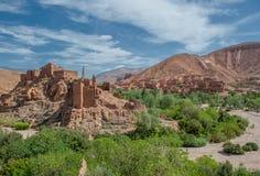 巴巴里人kasbah在Dades峡谷,摩洛哥 库存照片
