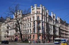 里加、Elizabetes 21,与哥特式复兴的元素的一个历史大厦和折中主义 免版税图库摄影