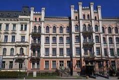 里加、Elizabetes 21,与哥特式复兴的元素的一个历史大厦和折中主义 库存照片
