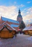 里加圣诞节市场在老镇的心脏 库存照片