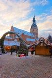 里加圣诞节市场在老镇的心脏 免版税库存照片