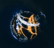 里加市360 VR寄生虫图片的夜房子虚拟现实的,全景塔 免版税库存照片