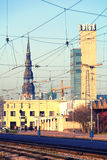 里加的中央火车站在拉脱维亚 免版税图库摄影