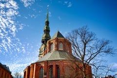 里加老镇的圣彼得教会 库存照片