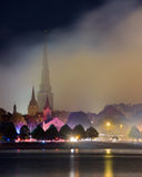 里加英国教会在晚上 免版税库存图片