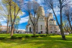 里加,拉脱维亚- 2017年5月06日:在里加的基督大教堂` s诞生的看法位于里加的市中心 免版税库存照片