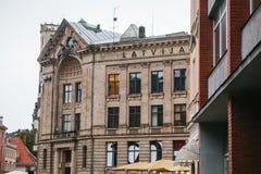 里加,拉脱维亚2017年10月4日:Latvijas收音机或拉脱维亚公共电台公司 免版税库存照片
