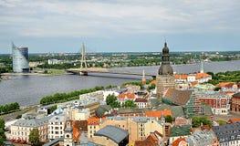 里加,拉脱维亚全景在夏天 图库摄影