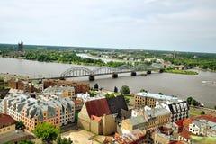 里加,拉脱维亚全景  免版税库存照片
