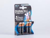 里加,拉脱维亚- 2017年4月18日:盒Duracell电池, Duracell是电池美国品牌  图库摄影