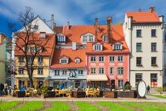 里加,拉脱维亚- 2017年5月06日:里加老镇建筑学  免版税库存图片