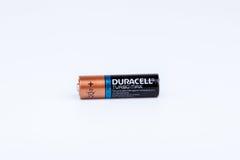里加,拉脱维亚- 2017年4月18日:Duracell电池, Duracell是美国品牌 库存照片