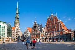 里加,拉脱维亚- 24 8月2015 :市政厅广场 免版税库存照片
