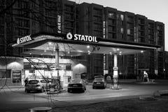 里加/拉脱维亚- 03-01-2015 :加油站 库存图片