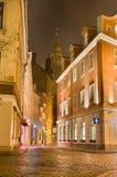 里加11月08日:大教堂的夜视图在08的里加没有 免版税图库摄影