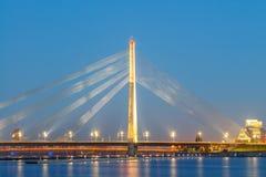 里加 电缆坚持的桥梁 免版税库存照片