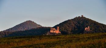 里博维尔,城堡圣徒乌尔里克和Gilsberg,阿尔萨斯 免版税库存图片
