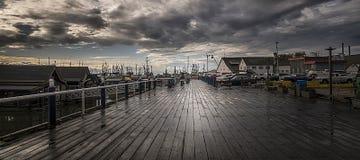 里士满渔夫在阵雨,温哥华以后的` s码头, BC,加拿大 免版税库存照片