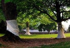 里士满VA有树的,喷泉,小山,在日落的豪宅美国Maymount 免版税库存图片