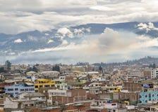 里奥班巴市鸟瞰图在厄瓜多尔 库存照片