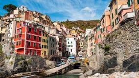 里奥马焦雷看法从海的 免版税库存照片