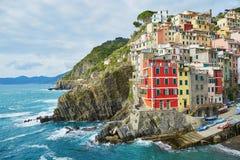 里奥马焦雷,五乡地,利古里亚,意大利风景看法  图库摄影