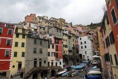 里奥马焦雷,其中一个五乡地村庄在意大利 免版税库存照片
