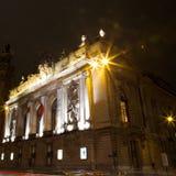 里尔歌剧在晚上 库存图片