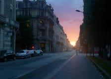 里尔街的日落视图在法国 库存照片