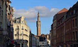 里尔,法国市政厅的钟楼  库存照片