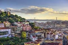 里斯本、葡萄牙地平线和城堡 库存图片