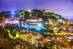 里斯本、葡萄牙地平线和城堡 免版税库存图片