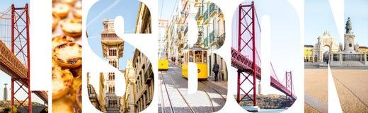 里斯本信件用图片填装了从里斯本市 免版税库存图片