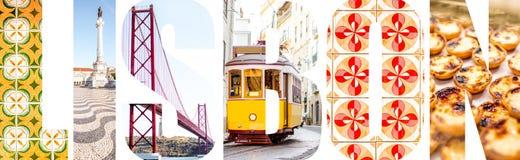 里斯本信件用图片填装了从里斯本市 免版税图库摄影