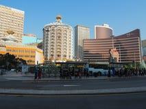 里斯本和韦恩赌博娱乐场的图象在澳门 免版税库存照片