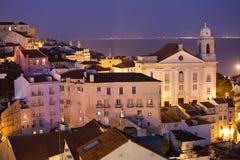里斯本在晚上在葡萄牙 免版税库存图片