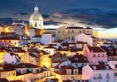 里斯本地平线在晚上, Alafama -葡萄牙 库存照片
