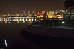 里斯本地平线在晚上 免版税库存照片