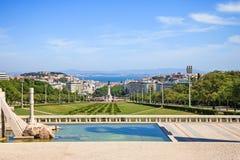里斯本地标、praca鸟瞰图或正方形Marques de Pombal。葡萄牙。 图库摄影