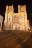 里斯本大教堂在晚上在葡萄牙 库存图片