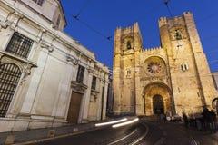 里斯本大教堂在晚上 免版税库存照片
