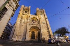 里斯本大教堂在晚上 免版税图库摄影