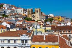 里斯本大教堂的鸟瞰图 免版税库存照片