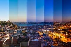里斯本屋顶鸟瞰图蒙太奇从Senhora的做Monte景色 免版税库存图片