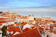 里斯本老镇地平线,葡萄牙 免版税库存照片
