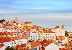 里斯本老镇地平线,葡萄牙 库存图片