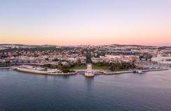 里斯本老镇的空中全景俯视图  免版税图库摄影