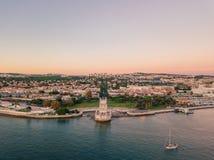 里斯本老镇的空中全景俯视图  免版税库存照片